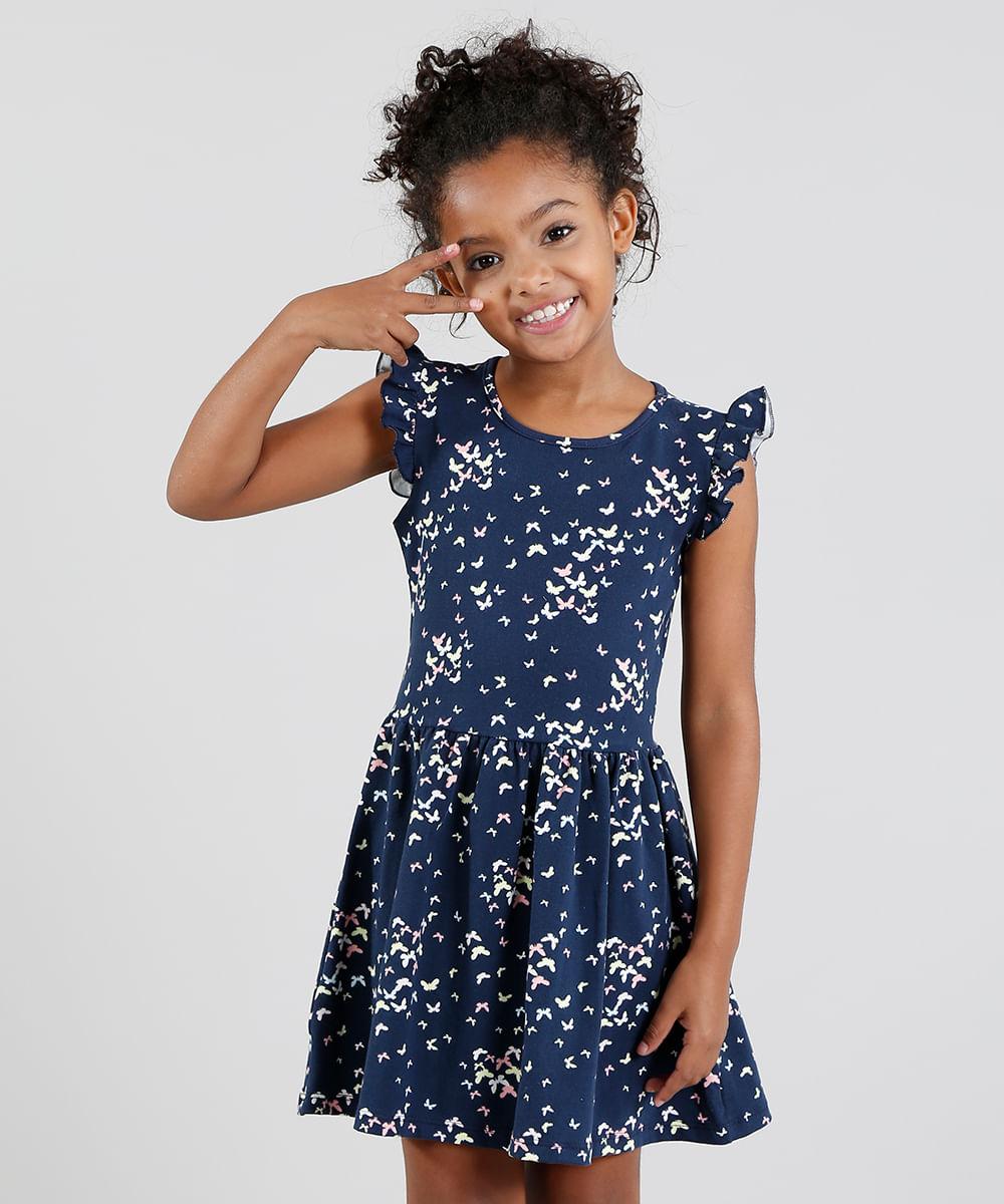 f106428f0d Vestido Infantil Estampado de Borboletas com Babado Azul Marinho - cea