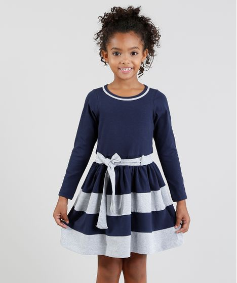ee6860993 Vestido Infantil com Recortes e Laço Manga Longa Azul Marinho - cea
