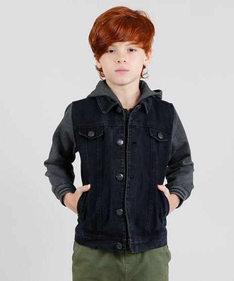 Jaqueta-Jeans-Infantil-com-Capuz-Manga-Longa-em-Moletom-Preta-9358029-Preto_1