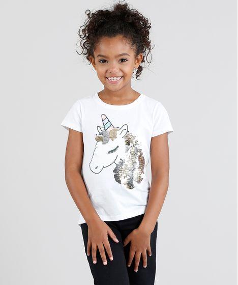 04ba2fd6939f90 Blusa Infantil Unicórnio com Paetê Dupla Face Manga Curta Decote Redondo  Branca