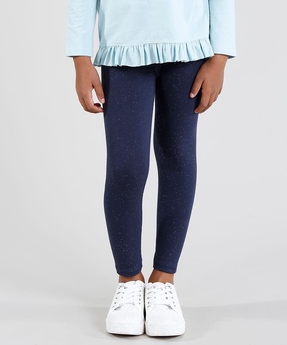 Calça Legging Infantil com Glitter Azul Marinho