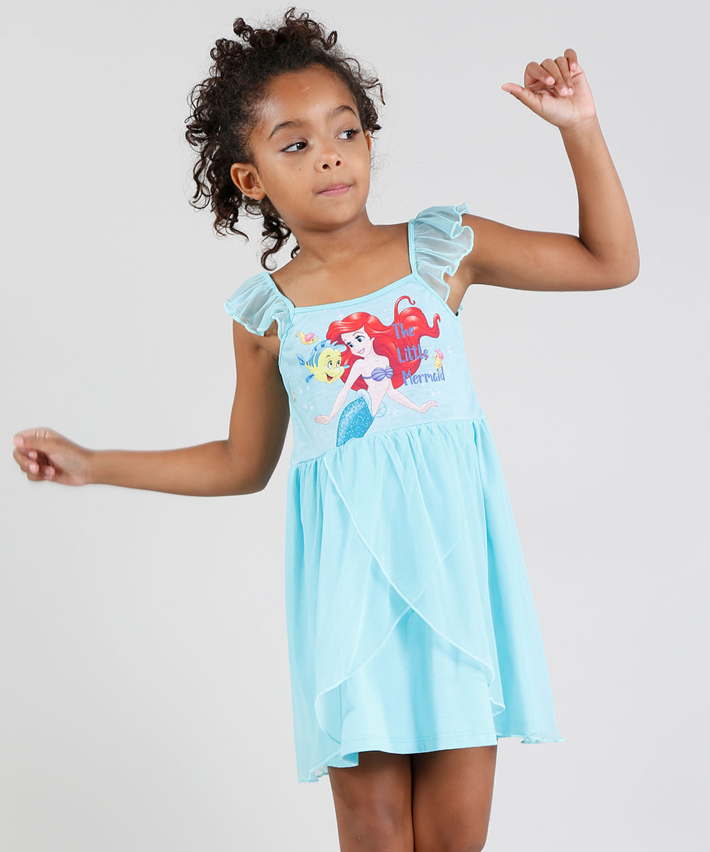 2446d1520 Camisola Infantil Pequena Sereia Ariel com Tule Sem Manga Verde Água ...