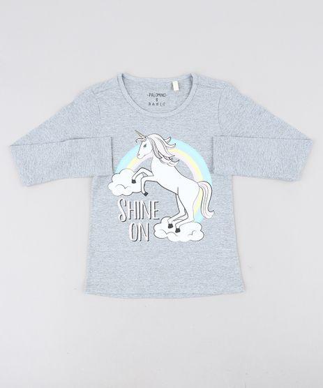 Blusa-Infantil-Unicornio-com-Glitter-Manga-Longa-Decote-Redondo-Cinza-Mescla-9412209-Cinza_Mescla_1