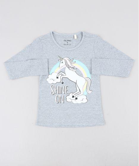 0be2714548 Blusa Infantil Unicórnio com Glitter Manga Longa Decote Redondo ...