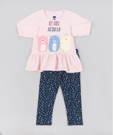73e643c1751754 Conjunto Infantil de Blusa com Babado Manga Longa Rosa Claro + Calça  Legging Estampada de Corações Azul Marinho