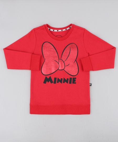 335d86eba Blusão Infantil Minnie em Moletom Manga Longa Vermelho | Menor preço ...
