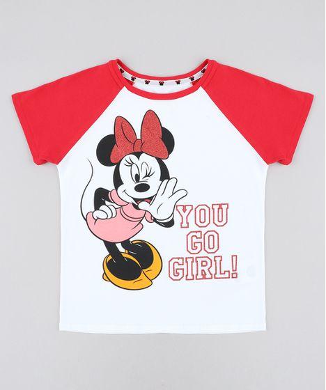 2ce9d6697 Blusa Infantil Raglan Minnie com Glitter Manga Curta Decote Redondo ...