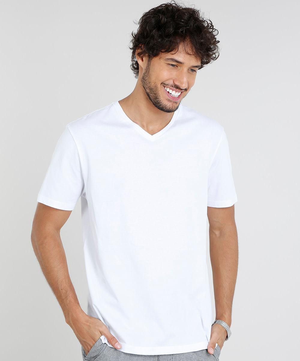 db6bb49b9f Camiseta Masculina Básica Manga Curta Gola V Branca - cea