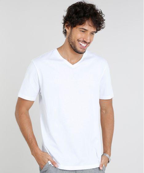 f825a2723 Camiseta Masculina Básica Manga Curta Gola V Branca - cea