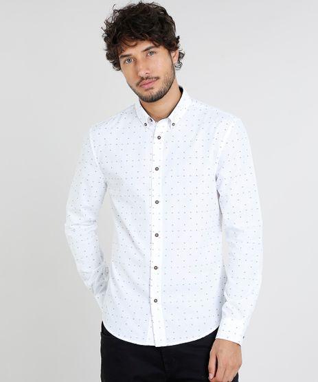 Camisa-Masculina-Slim-Estampada-Mini-Print-Manga-Longa-Branca-9252884-Branco_1
