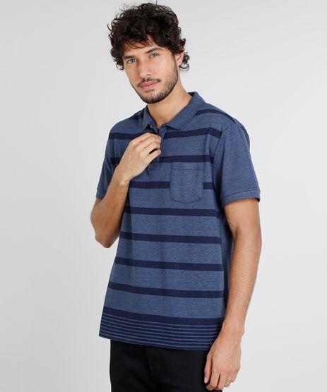 Polo-Masculina-com-Listras-e-Bolso-Manga-Curta-Azul-Marinho-9449027-Azul_Marinho_1