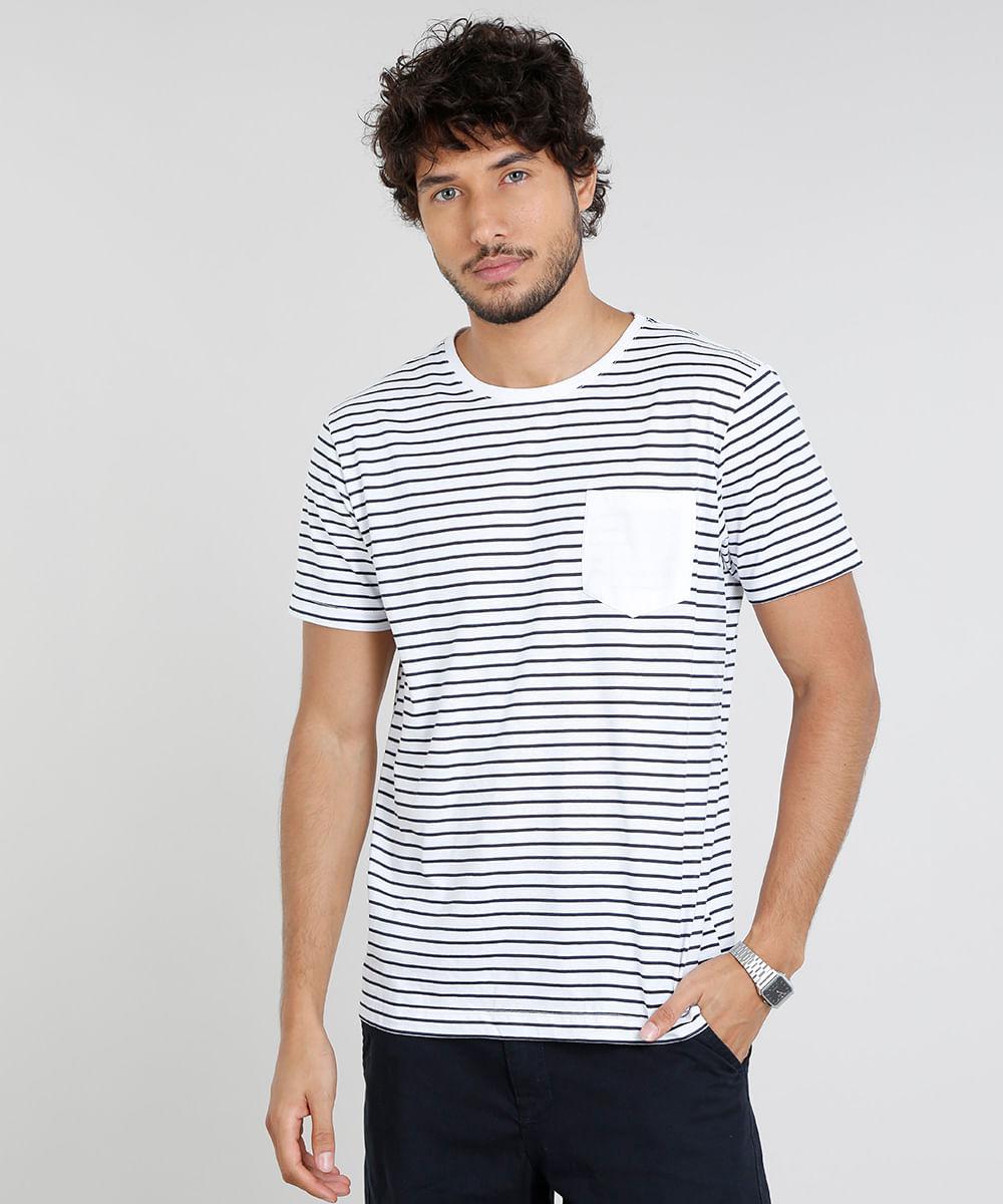 1c6127c49 Camiseta Masculina Básica Listrada com Bolso Manga Curta Gola Careca ...