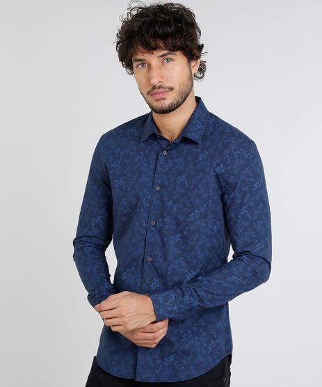 Camisa-Masculina-Slim-Estampada-de-Folhagem-Manga-Curta-Azul-Marinho-9252883-Azul_Marinho_1