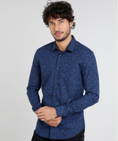6dfa7e8d35 Camisa Masculina Slim Estampada de Folhagem Manga Curta Azul Marinho ...