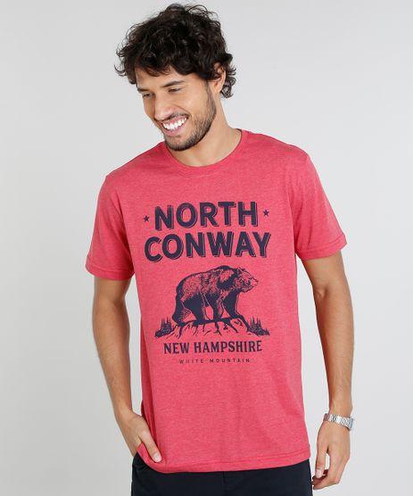 Camiseta-Masculina-com-Estampa-de-Urso-Manga-Curta-Gola-Careca-Vermelha-9451322-Vermelho_1