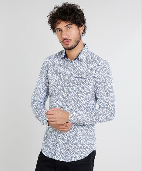 4c65963831 Camisa Masculina Slim Estampada de Folhagem com Bolso Manga Curta ...