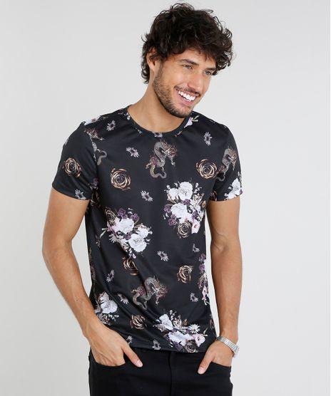376cfcb7b9 Camiseta-Masculina-Slim-Fit-Estampada-Floral-com-Dragoes-