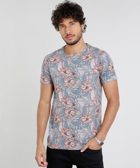 Camiseta-Masculina-Slim-Fit-Estampada-Floral-Manga-Curta-Gola-Careca-Rose-9449591-Rose_1