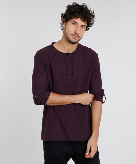 Camiseta-Masculina-com-Botoes-Manga-Longa-Gola-Careca-Vinho-9471102-Vinho_1