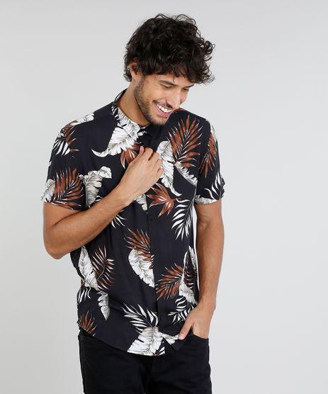 Camisa-Masculina-Relaxed-Estampada-de-Folhagem-Manga-Curta-Preta-9448226-Preto_1