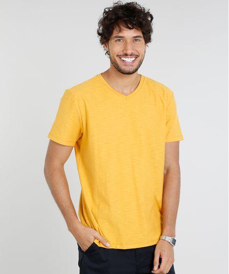 f8c174befb Camiseta Masculina Básica Manga Curta Gola V Mostarda - cea