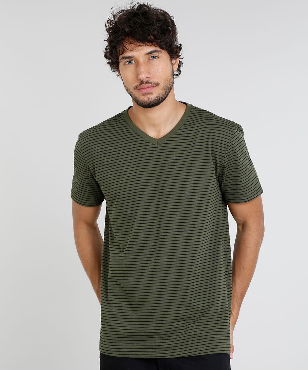 c80ae6dc00 Camiseta Masculina Básica Listrada Manga Curta Gola V Verde Militar ...