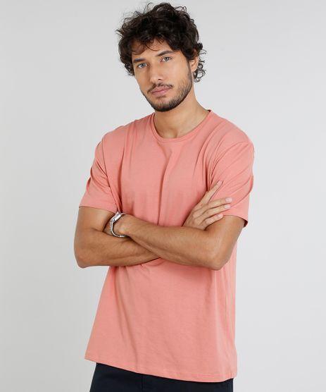 Camiseta-Masculina-Basica-Manga-Curta-Gola-Careca--Coral-9451462-Coral_1