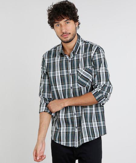 Camisa Masculina Comfort Estampada Xadrez com Bolso Manga Longa Verde - cea cd069b3772c