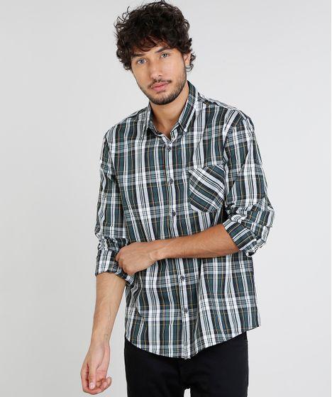 9e18c382c Camisa Masculina Comfort Estampada Xadrez com Bolso Manga Longa ...