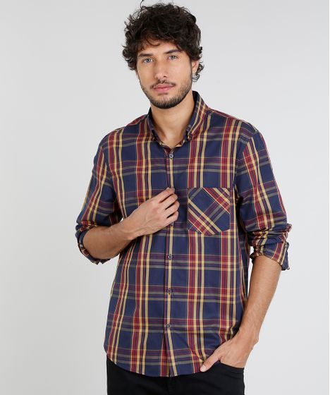 7f2e37a37 Camisa Masculina Comfort Estampada Xadrez com Bolso Manga Longa Azul ...