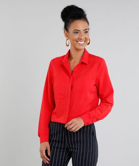 0a6d7e99d Menor preço em Camisa Feminina com Bolsos Manga Longa Vermelha