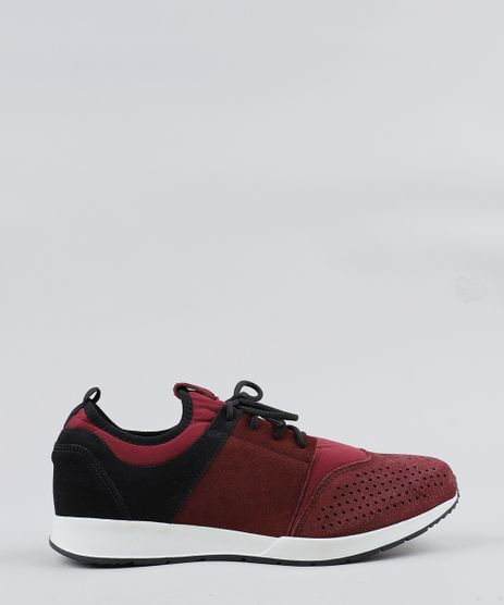 Tenis-Masculino-Running-com-Recortes-Vinho-9469823-Vinho_1