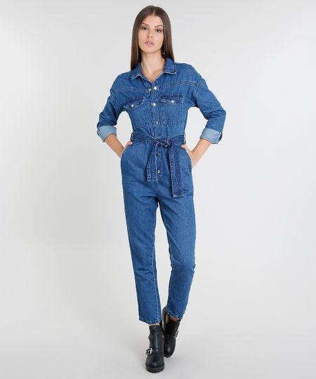 4f2523dc2a Menor preço em Macacão Jeans Feminino com Bolsos Manga Longa Azul Médio