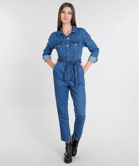 84e2ef6f4 Macacão Jeans Feminino com Bolsos Manga Longa Azul Médio - cea