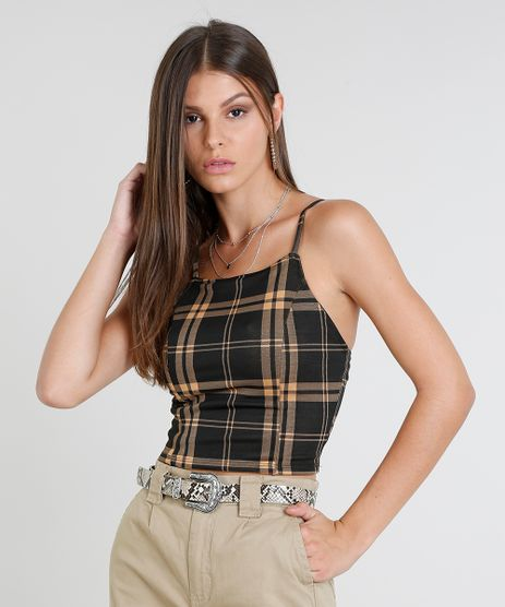 Regata-Feminina-Cropped-Halter-Neck-Estampada-Xadrez-Preta-9464300-Preto_1