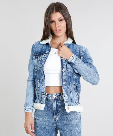 Jaqueta-Jeans-Feminina-com-Pelo-Azul-Medio-9463440-Azul_Medio_1