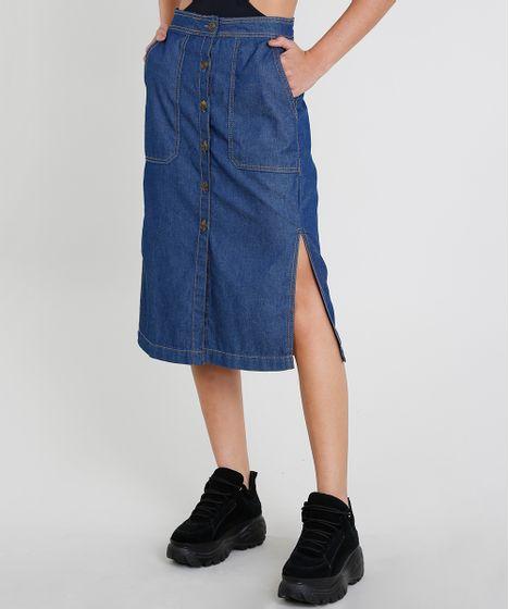 3bf8e9a9e Saia Jeans Feminina Midi com Botões e Fendas Azul Escuro - cea