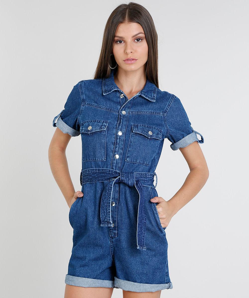 88a32cabf3c54c Macaquinho Jeans Feminino com Bolsos Manga Curta Azul Médio