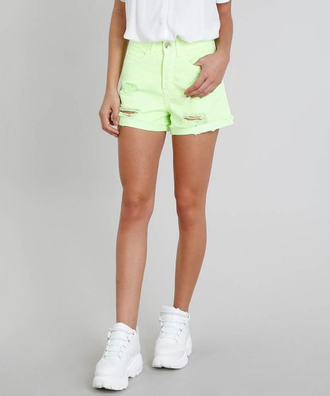 Short-de-Sarja-Feminino-Vintage-com-Rasgos-Verde-Neon-9507115-Verde_Neon_1