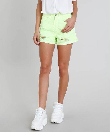 1054abaa1 Short de Sarja Feminino Vintage com Rasgos Verde Neon - cea