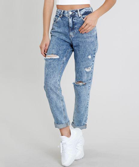 Calca-Jeans-Feminina-Mom-Pants-com-Rasgos-Azul-Medio-9463412-Azul_Medio_1