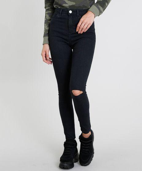 Calca-Jeans-Feminina-Super-Skinny-com-Rasgos-Preta-9453713-Preto_1