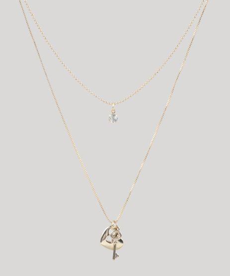 Colar-Feminino-Duplo-com-Pingentes-Dourado-9435789-Dourado_1