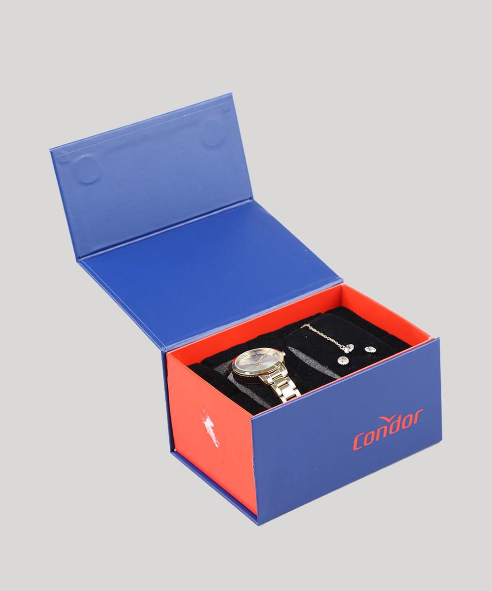 38edcb9c2 Kit de Relógio Analógico Condor Feminino + Brinco + Colar - CO2035EZNK4K  Dourado - Único