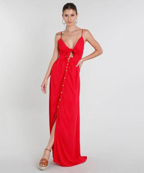 Vestido-Feminino-Longo-com-No-e-Botoes-Alca-Fina-Vermelho-9444486-Vermelho_1