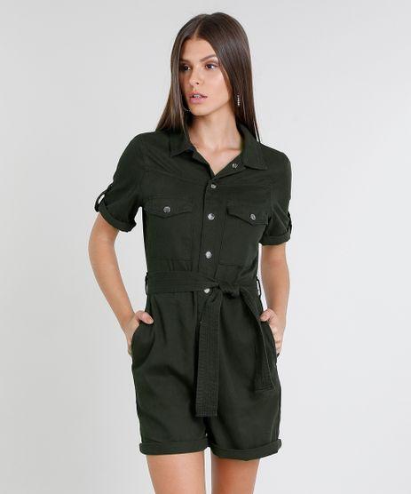 Macaquinho-de-Sarja-Feminino-com-Bolsos-Manga-Curta-Verde-Militar-9470539-Verde_Militar_1