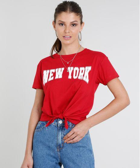 Blusa-Feminina--New-York--com-No-Manga-Curta-Decote-Redondo-Vermelha-9432241-Vermelho_1