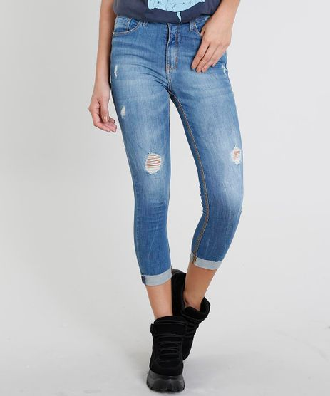 Calca-Jeans-Feminina-Cropped-com-Rasgos-Azul-Medio-9475938-Azul_Medio_1