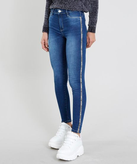 Calca-Jeans-Feminina-Sawary-Cigarrete-com-Faixa-Lateral-Animal-Print-Azul-Escuro-9472030-Azul_Escuro_1
