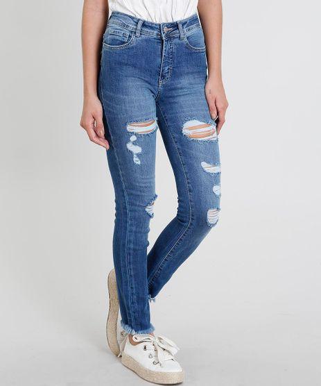 Calca-Jeans-Feminina-Skinny-Destroyed-Azul-Medio-9463421-Azul_Medio_1